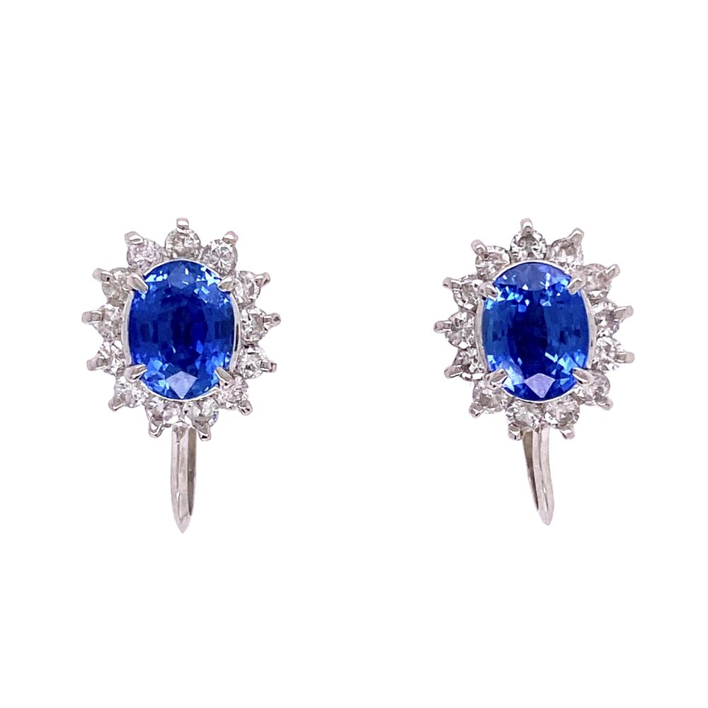 Platinum 2.30tcw Oval Sapphire & .66tcw Diamond Halo Earrings