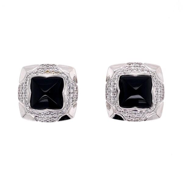 Closeup photo of 18K WG Sugarloaf Onyx & .60tcw Diamond BVLGARI Earrings, 10.6g
