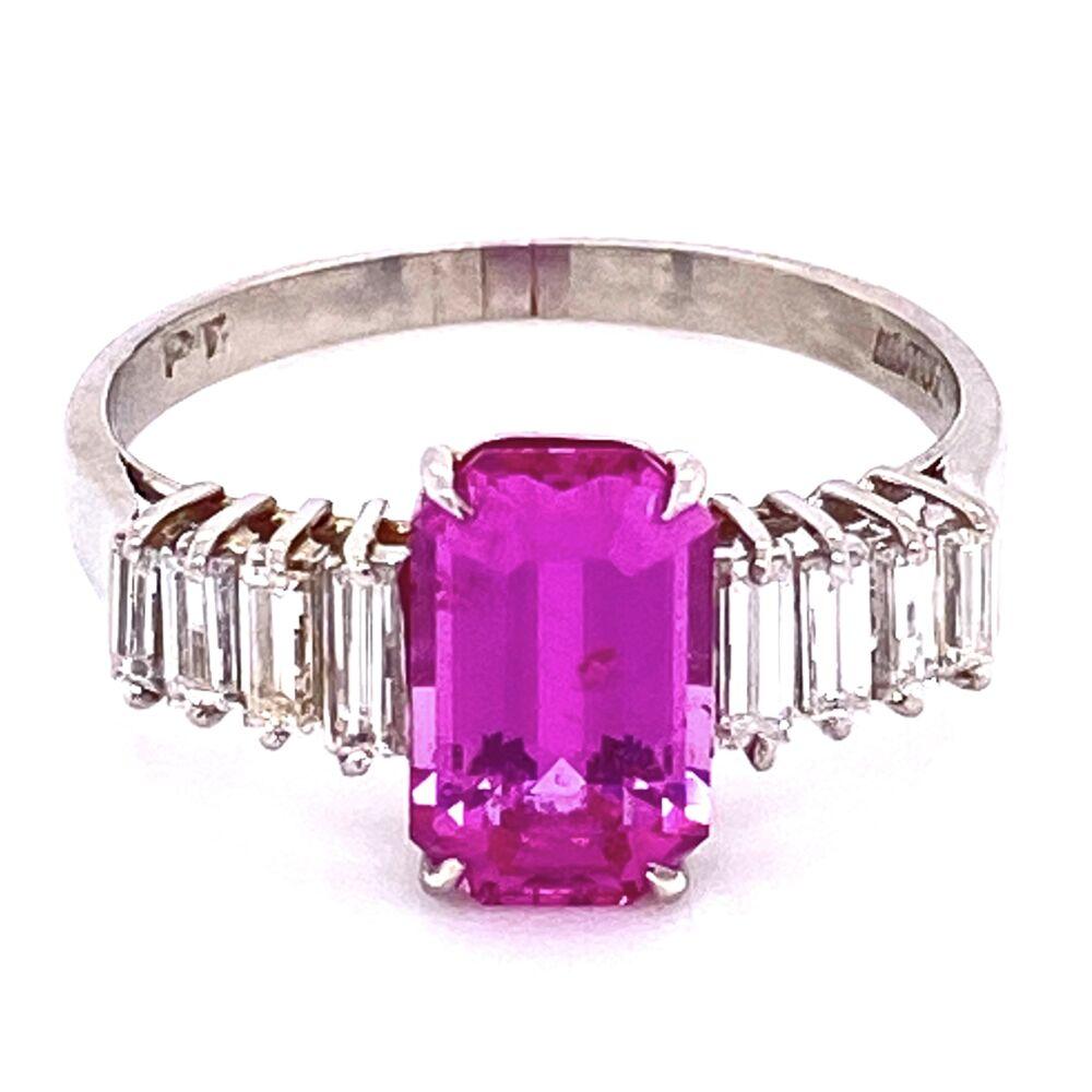 Image 2 for Platinum 2.19ct Emerald Cut Pink Sapphire & .45tcw Diamond Ring, s6.5