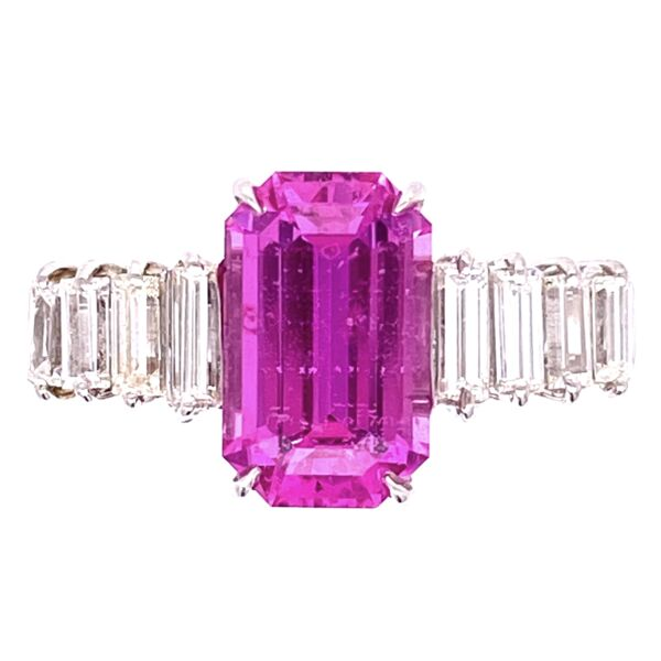 Closeup photo of Platinum 2.19ct Emerald Cut Pink Sapphire & .45tcw Diamond Ring, s6.5
