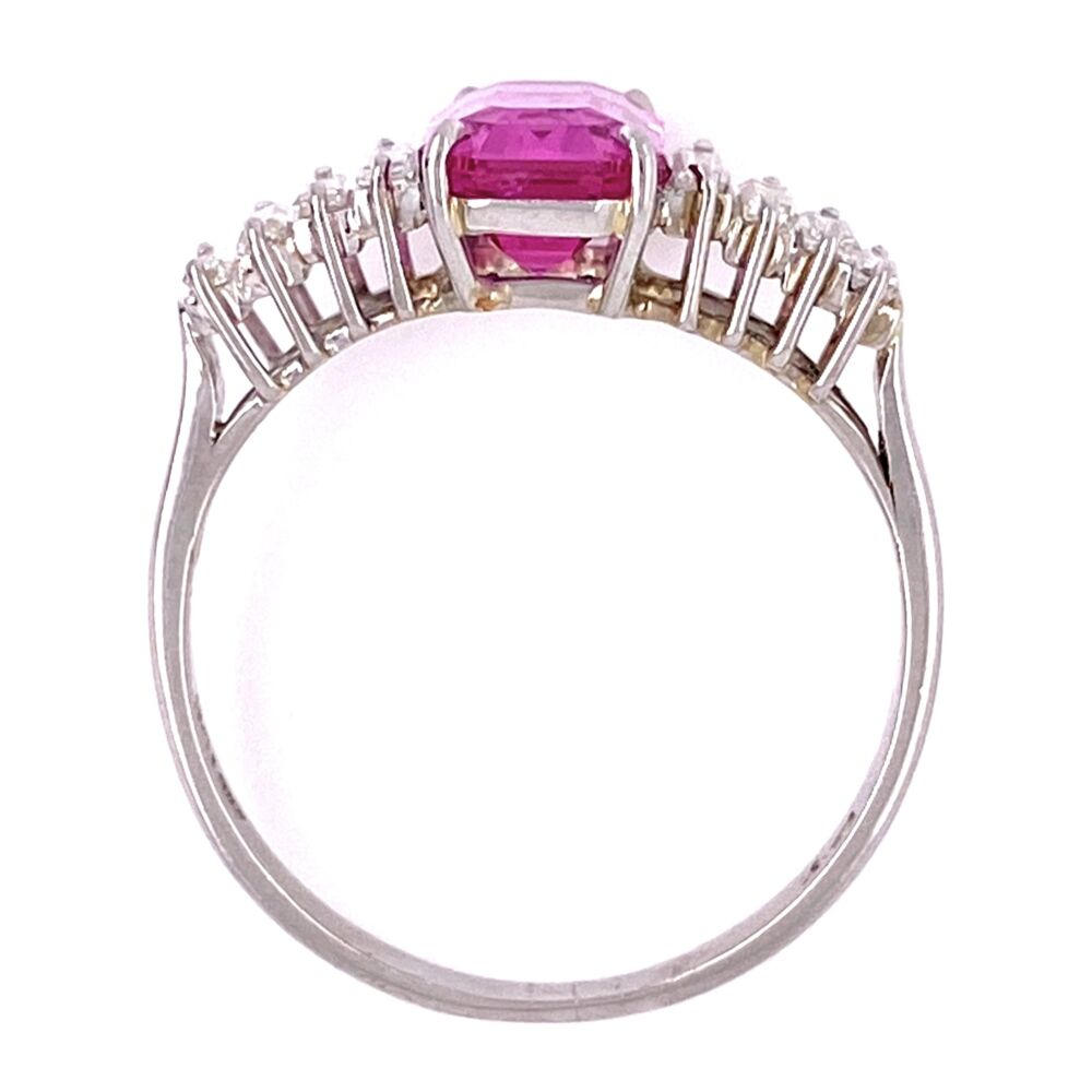 Platinum 2.19ct Emerald Cut Pink Sapphire & .45tcw Diamond Ring, s6.5
