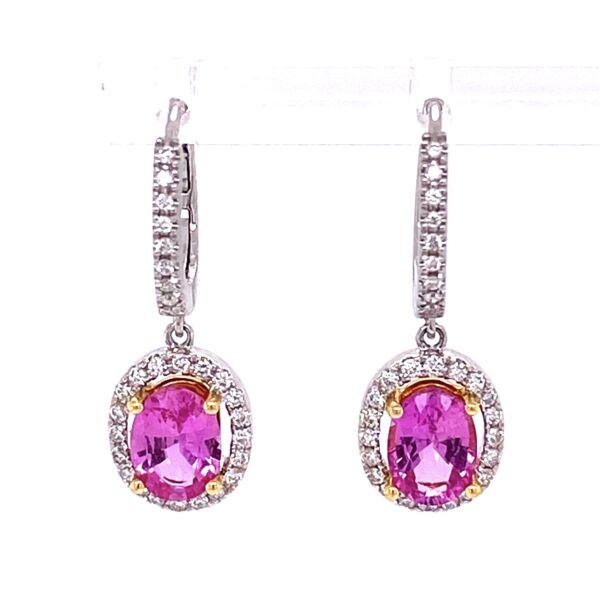 Closeup photo of 18K WG 2.10tcw Oval Pink Sapphire & .40tcw Diamond Earrings