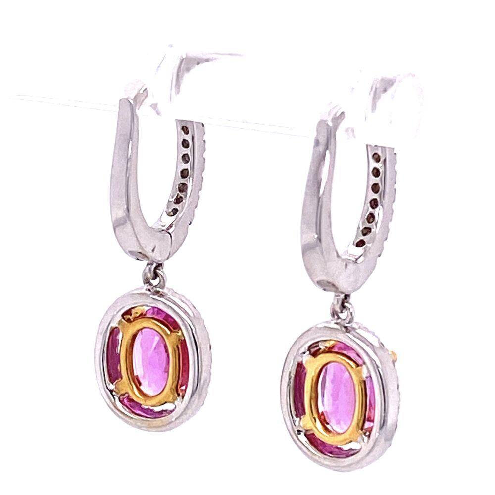 Image 2 for 18K WG 2.10tcw Oval Pink Sapphire & .40tcw Diamond Earrings