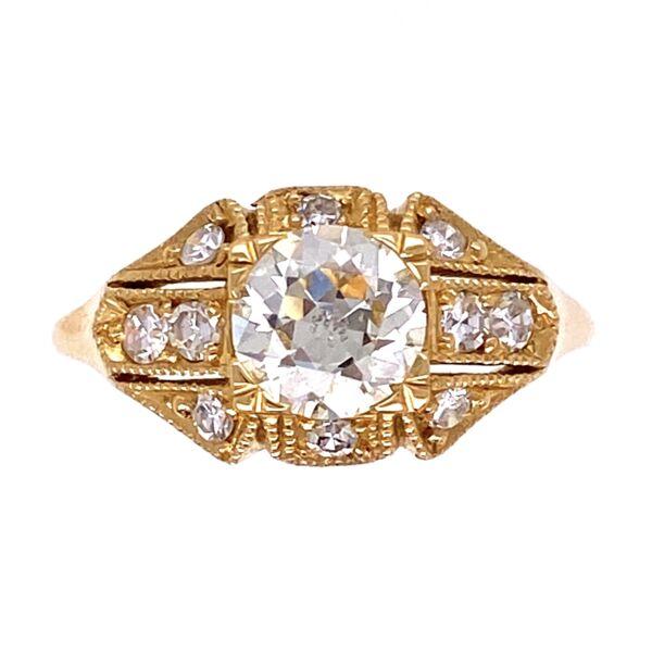 Closeup photo of 18K YG Art Deco .81tcw & .23tcw Side Diamond Ring, s6.5