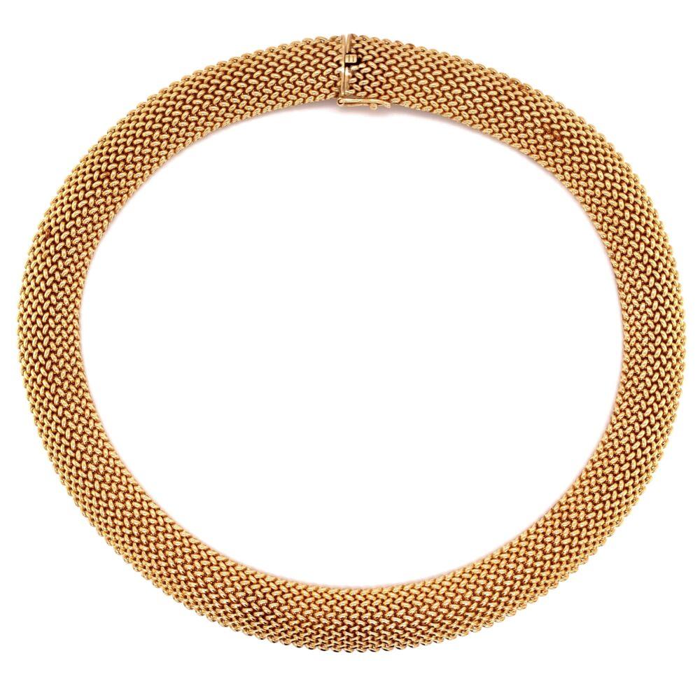 """14K YG Mesh Choker Necklace 79.0g, 15.5x.5"""""""