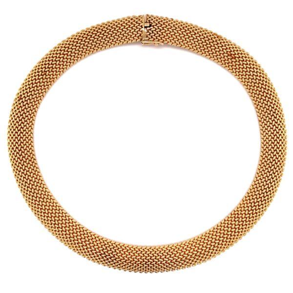 "Closeup photo of 14K YG Mesh Choker Necklace 79.0g, 15.5x.5"""