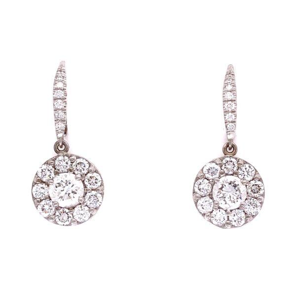 "Closeup photo of 18K WG 2.09tcw Cluster Diamond Earrings, 1"" tall"