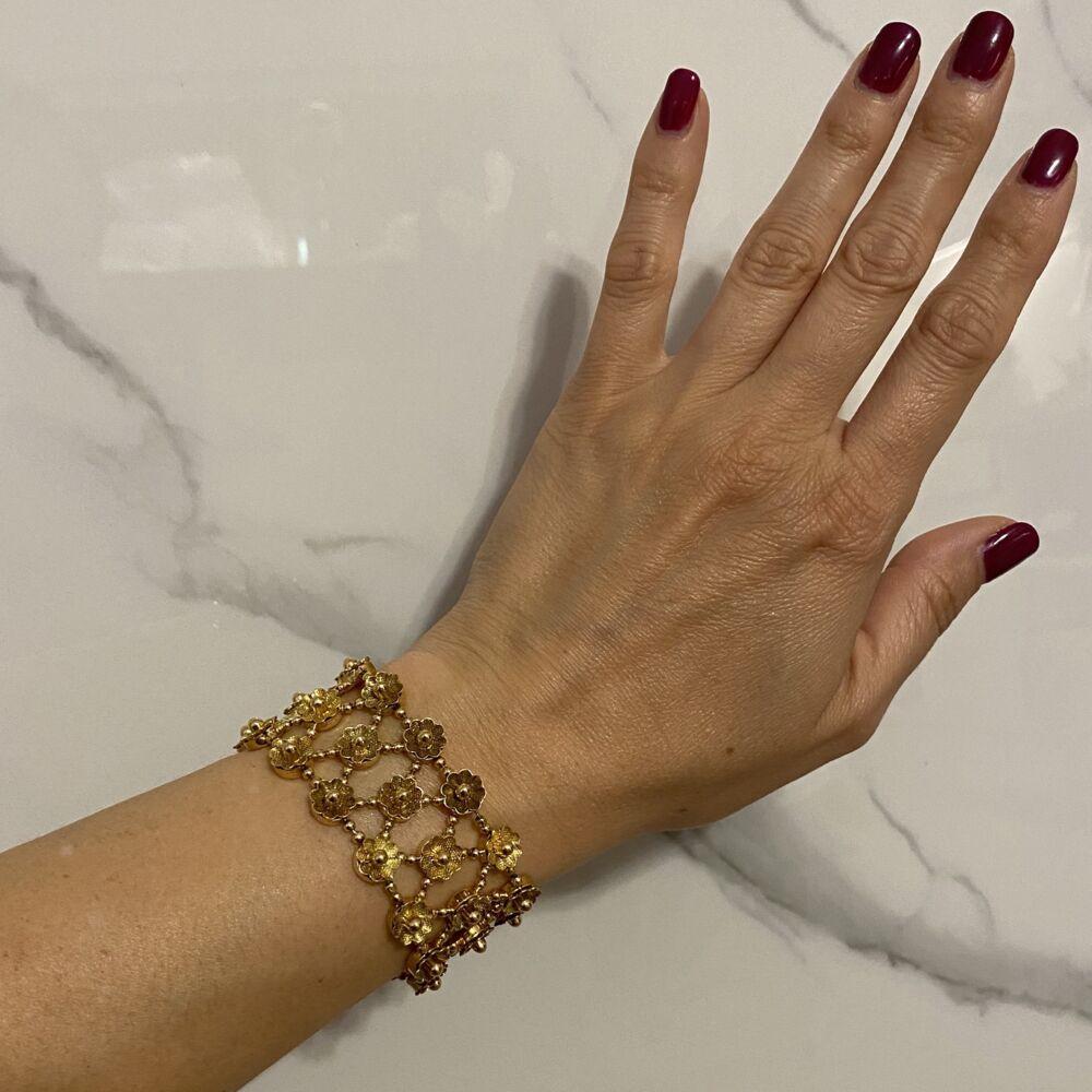 "18K YG Mesh Petal Wide Bracelet 56.3g, 7"""