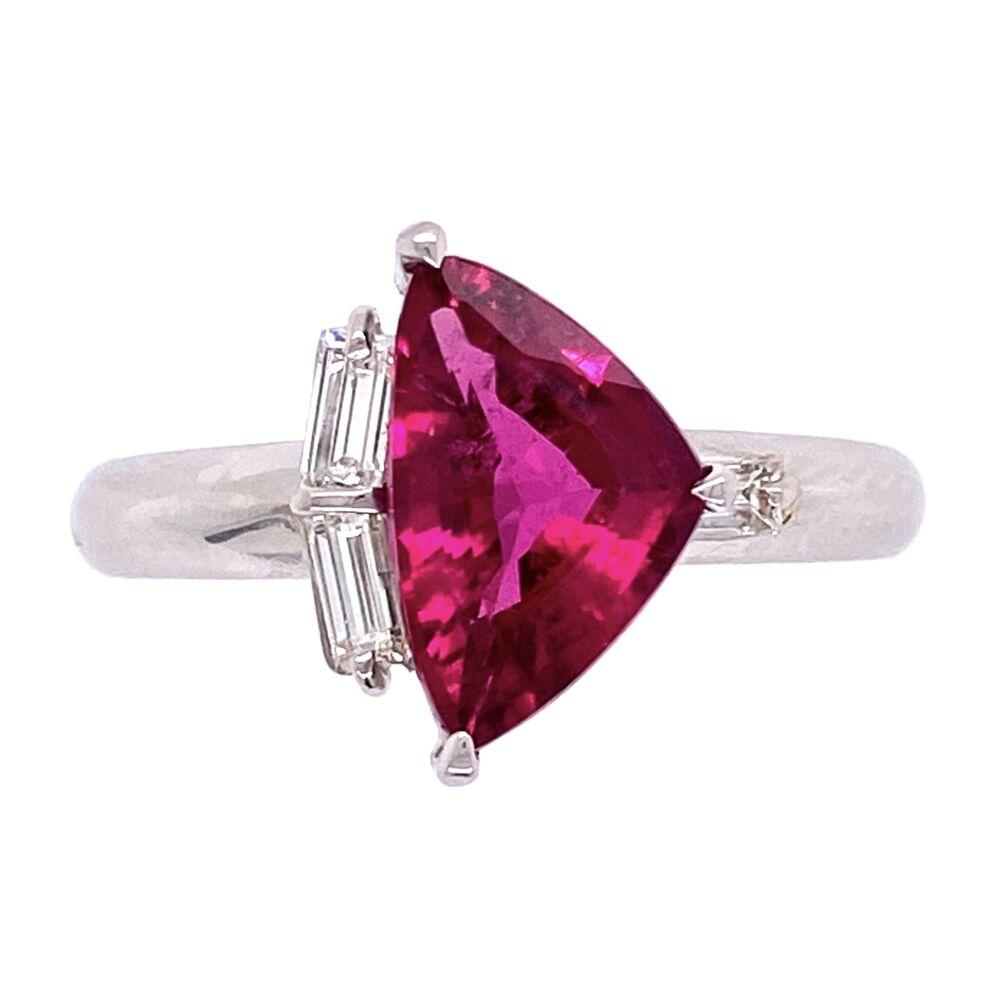 Platinum 1.68ct Sheild Rubelite Tourmalime & .18tcw Diamond Ring, s6.5