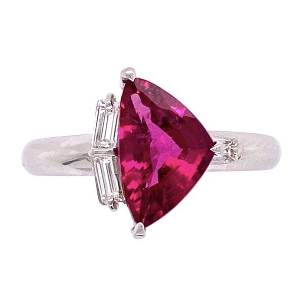 Closeup photo of Platinum 1.68ct Sheild Rubelite Tourmalime & .18tcw Diamond Ring, s6.5