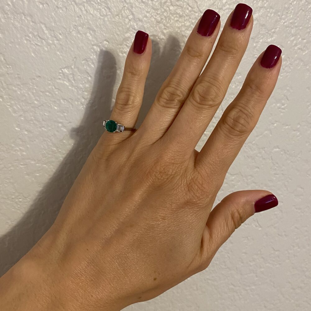 Image 2 for Platinum 1.00ct Round Emerald & .35tcw Diamond Ring, crica 1950's, s5.25