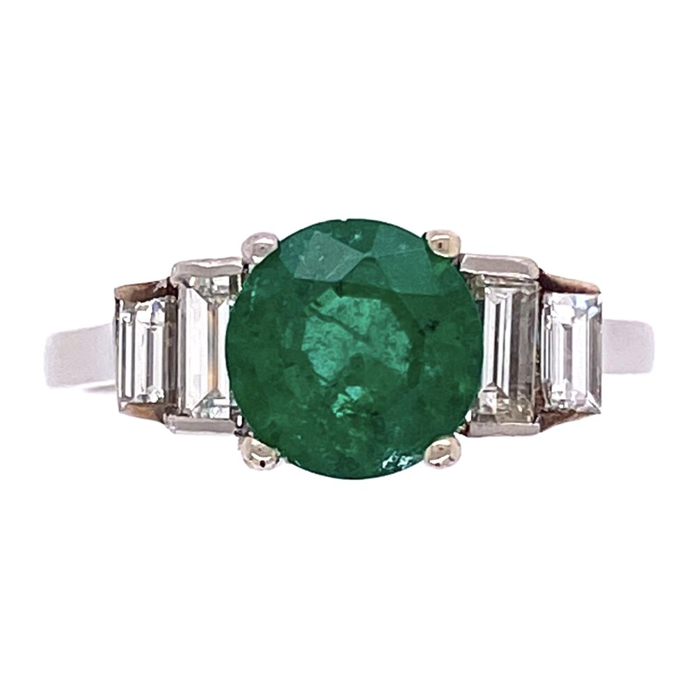 Platinum 1.00ct Round Emerald & .35tcw Diamond Ring, crica 1950's, s5.25