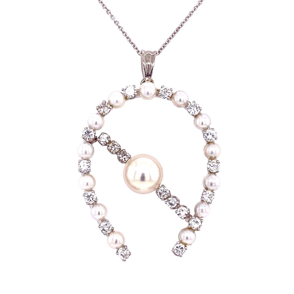 "14K WG Retro Pearl & 1.20tcw Diamond Horse Shoe Pendant 16"" Chain 1.5"" tall"