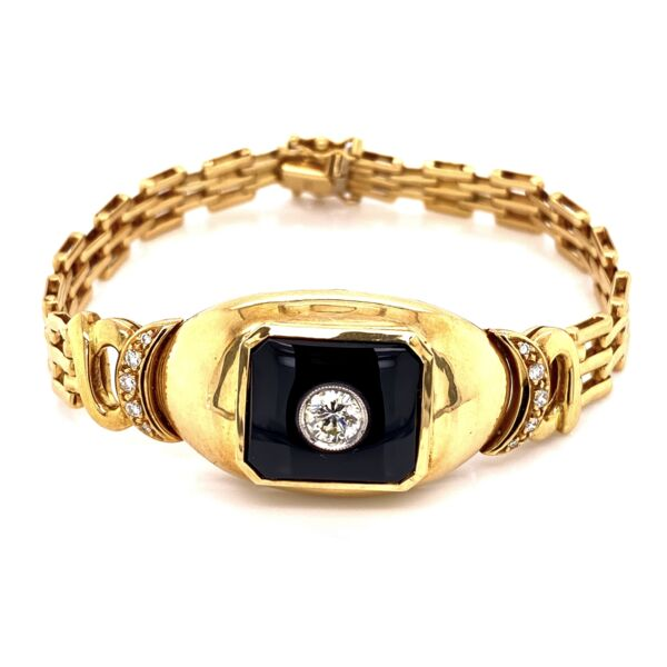 Closeup photo of 18K YG .65tcw Diamond & Onyx Bracelet 34.6g, 7""