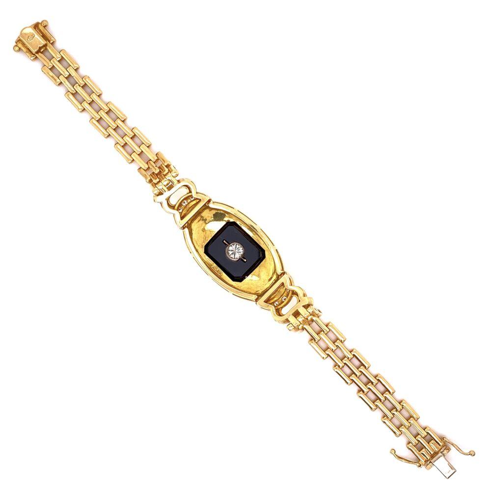 """Image 2 for 18K YG .65tcw Diamond & Onyx Bracelet 34.6g, 7"""""""