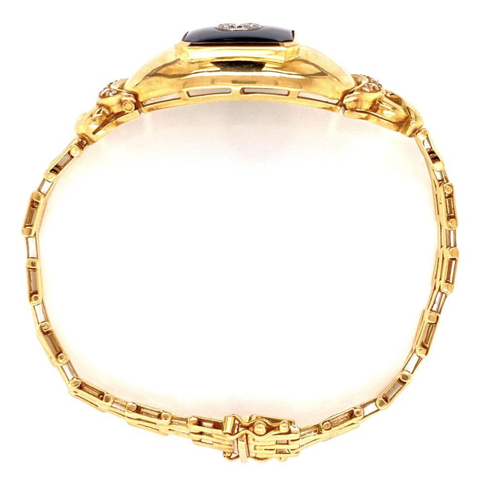 """18K YG .65tcw Diamond & Onyx Bracelet 34.6g, 7"""""""