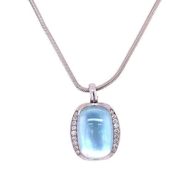 "Closeup photo of 18K WG Blue Stone & .18tcw Diamond Pendant 10.2g, 16"""