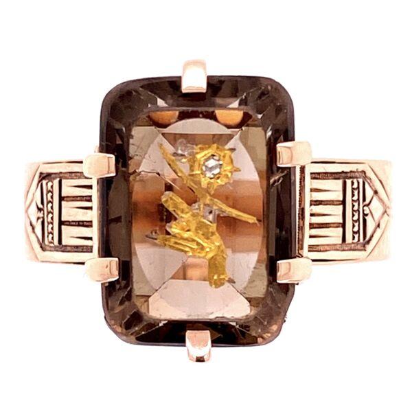 Closeup photo of 14K Victorian Smokey Quartz inlay Ring, s6.5