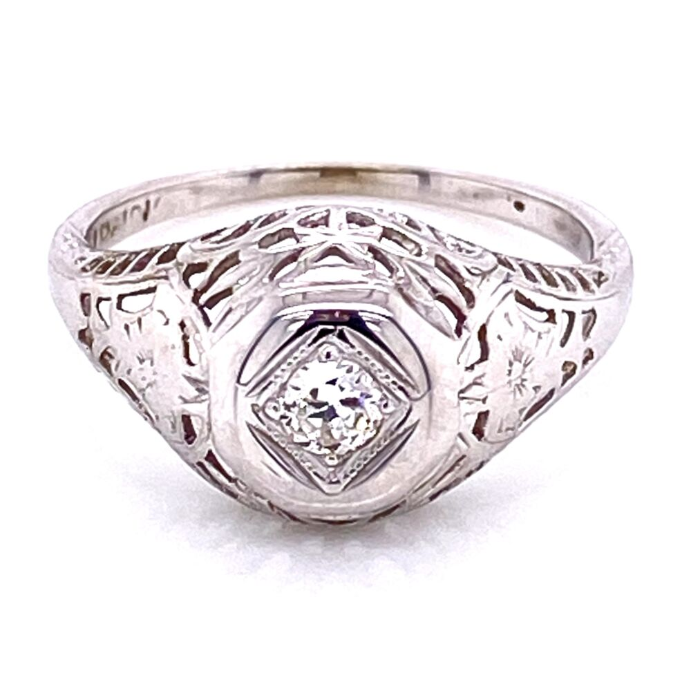 Image 3 for 18K WG Art Deco .12ct Diamond Filigree Ring, s5.5