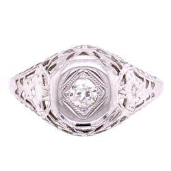 Closeup photo of 18K WG Art Deco .12ct Diamond Filigree Ring, s5.5