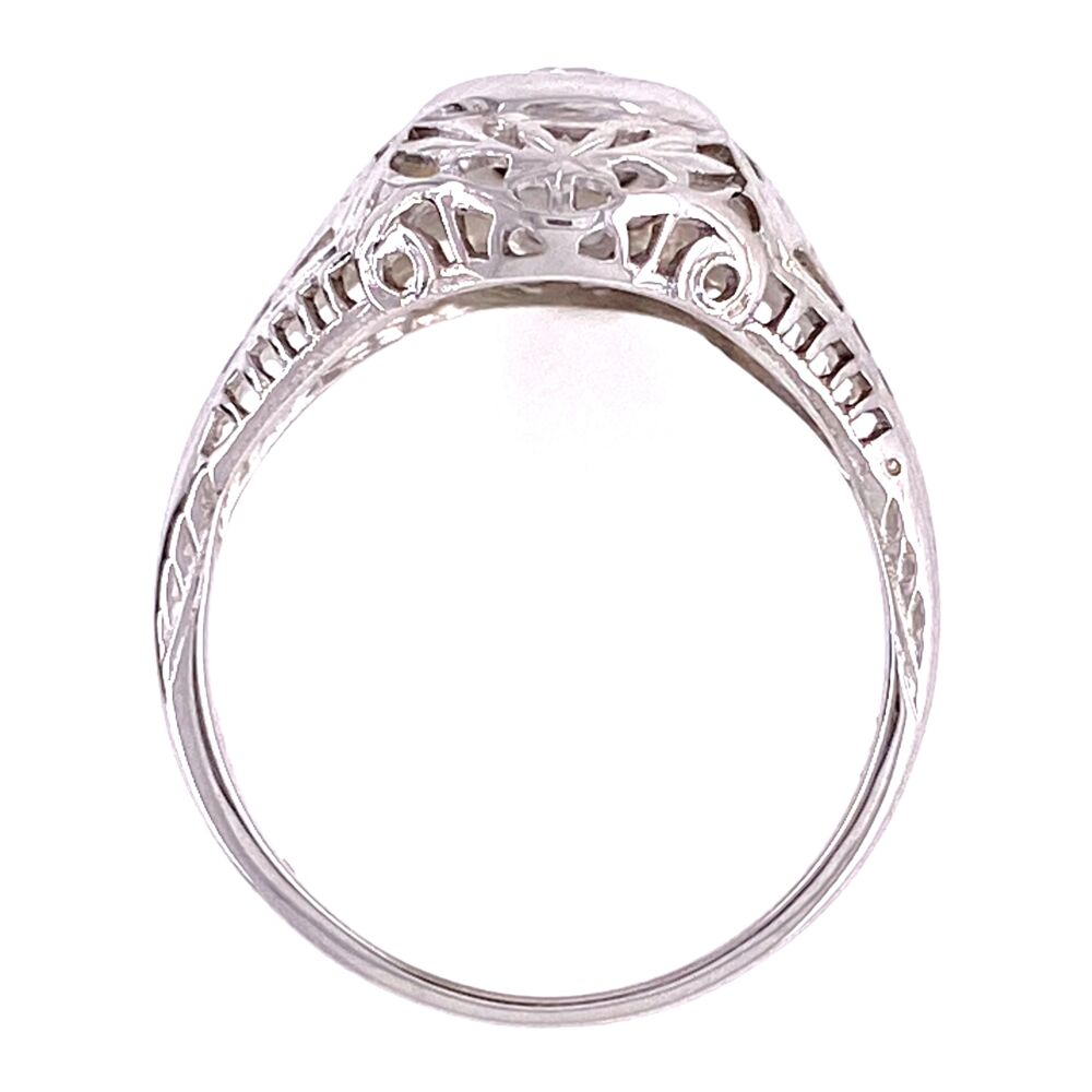 18K WG Art Deco .12ct Diamond Filigree Ring, s5.5