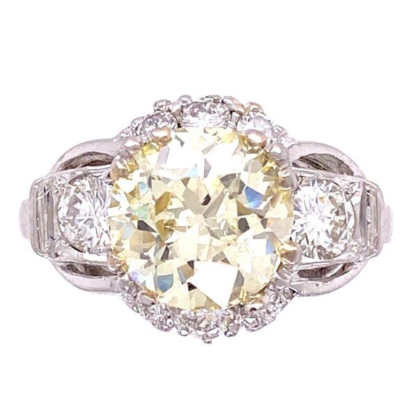 Closeup photo of Platinum 2.14ct Fancy Yellow VS2 OEC Diamond Ring with .45tcw Diamonds, s6.5