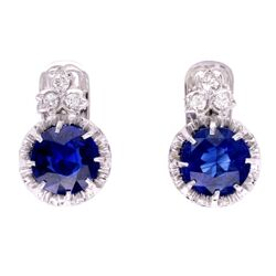 Closeup photo of Platinum Art Deco 3.64tcw Sapphire Drop Earrings with .20tcw Diamonds
