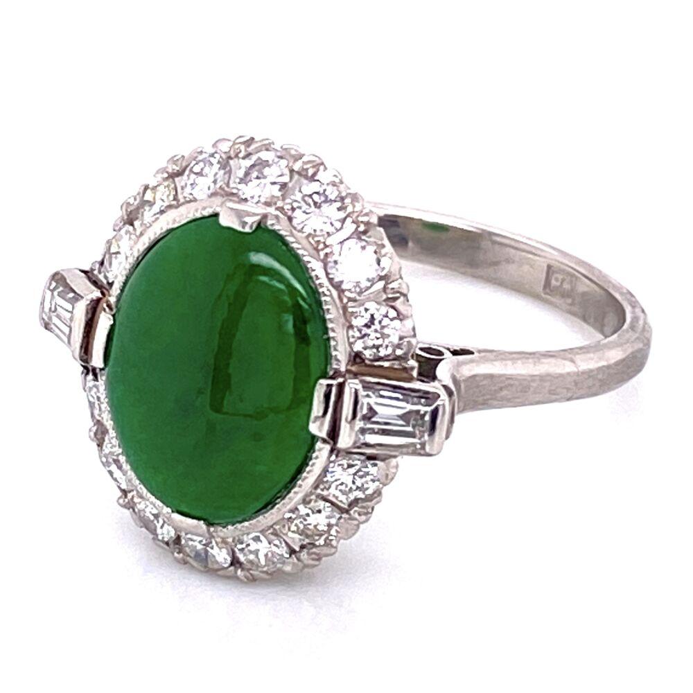Platinum Art Deco 3.00ct Oval Jade & .70tcw Diamonds Ring, s6