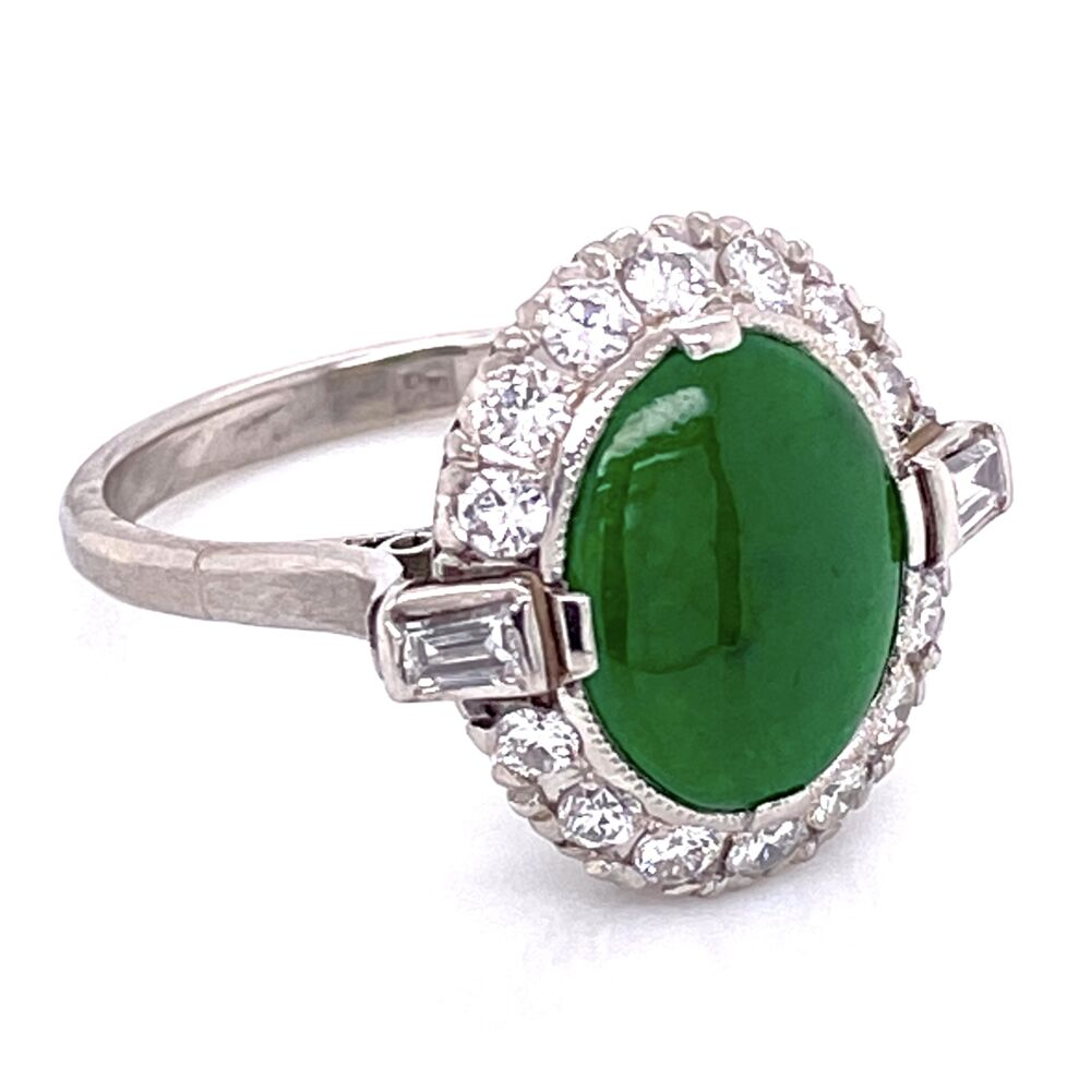 Image 2 for Platinum Art Deco 3.00ct Oval Jade & .70tcw Diamonds Ring, s6