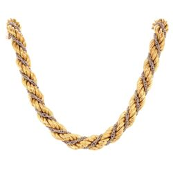 Closeup photo of 18K 2tone Rope Necklace Chain 45.2g, 18.5""