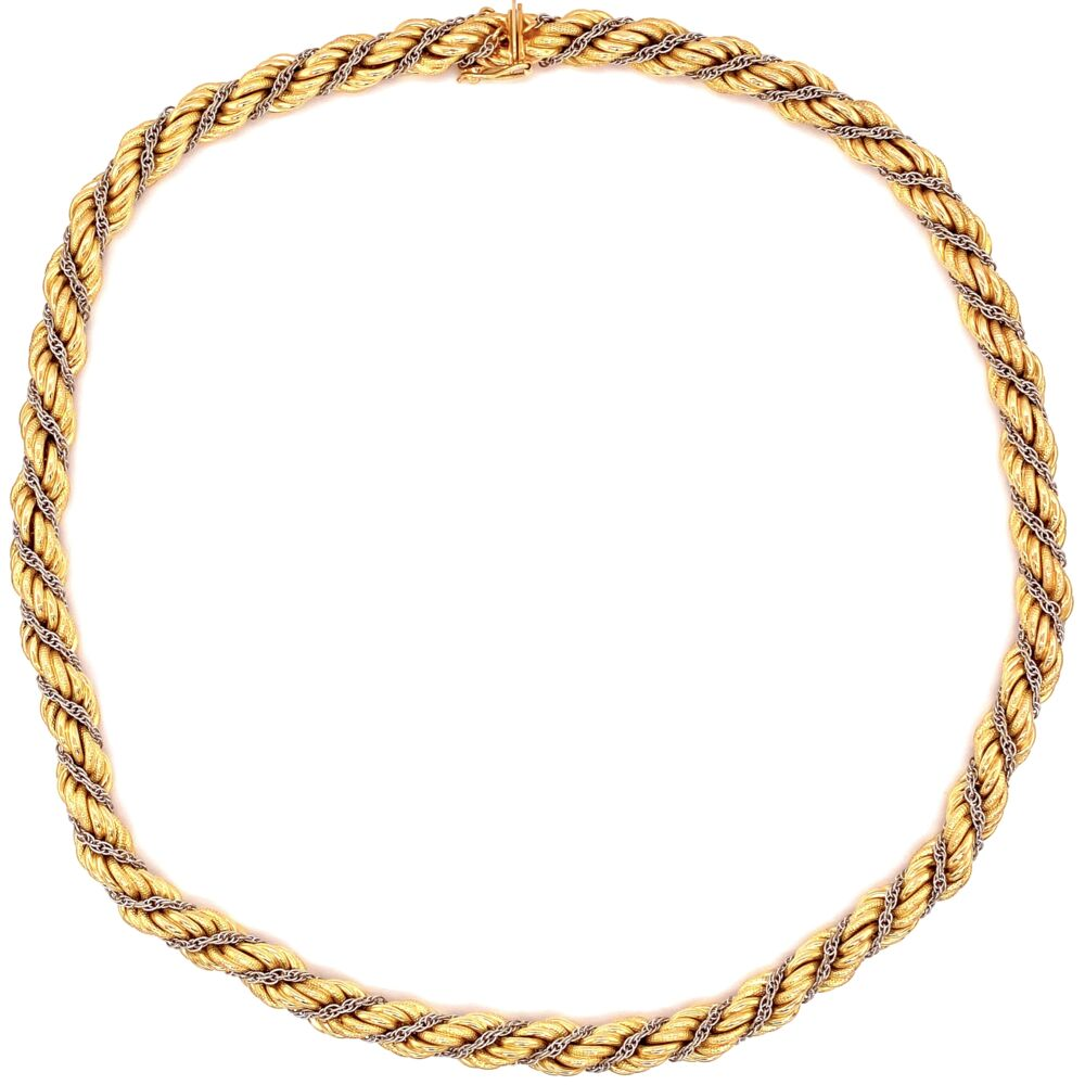 Image 2 for 18K 2tone Rope Necklace Chain 45.2g, 18.5""