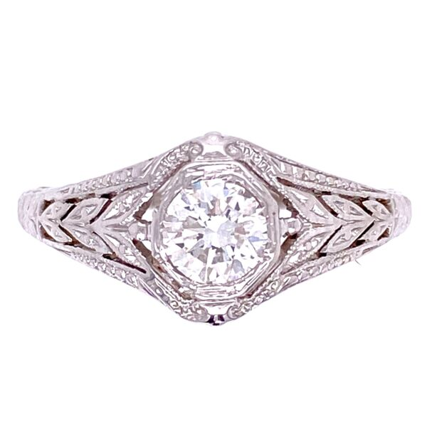 Closeup photo of 18K WG Art Deco .40ct OEC Diamond Ring, s7.5