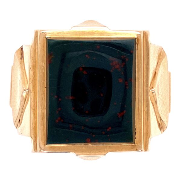Closeup photo of 10K Victorian Square Bloodstone Angular Ring 7.3g, s8.75