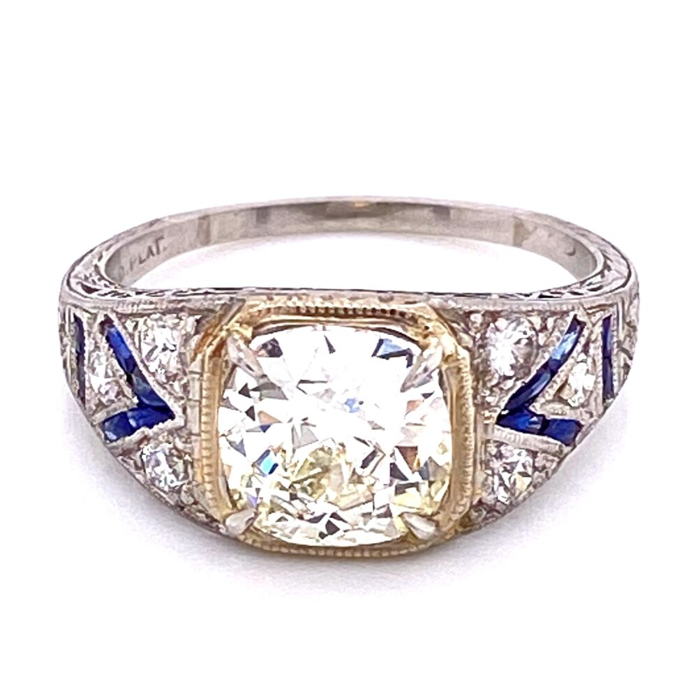 Platinum Art Deco 1.62ct Old Mine Diamond Ring with .32tcw, s6