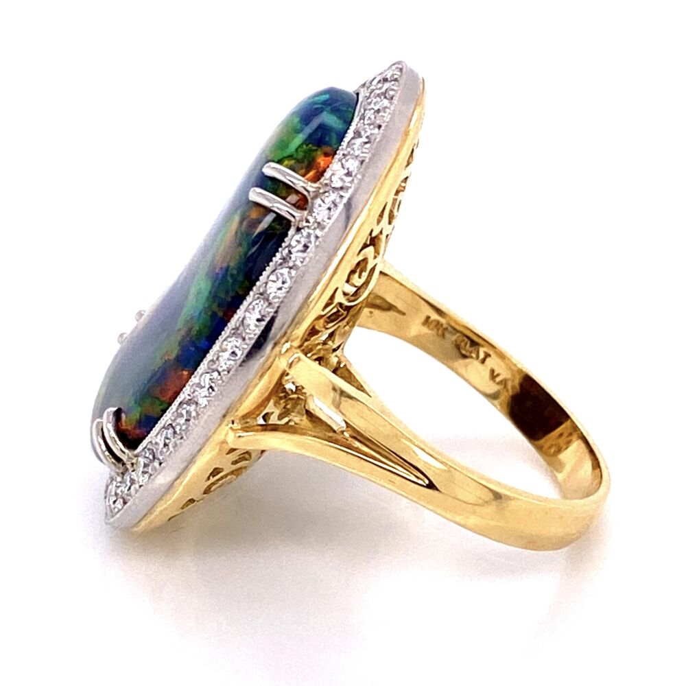 Image 2 for Platinum on 18K 10.68ct Black Opal & .82tcw Diamond Ring, s7