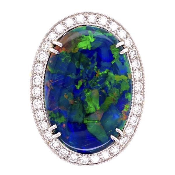 Closeup photo of Platinum on 18K 10.68ct Black Opal & .82tcw Diamond Ring, s7