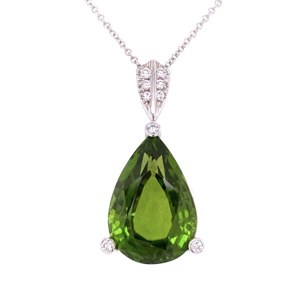 "Closeup photo of Platinum 21.0g Pear Shape Peridot & .22tcw Diamond Pendant on 16"" Chain"