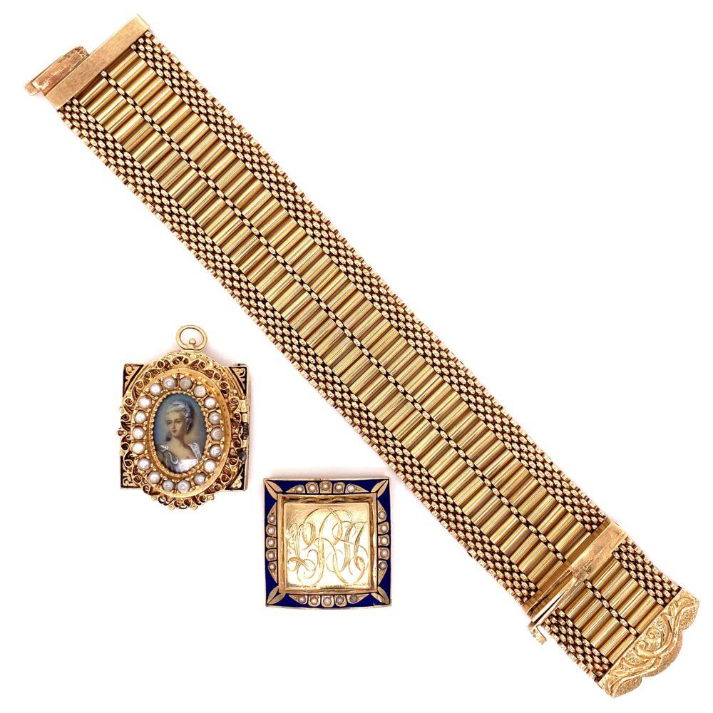 "Image 2 for 14K YG Victorian Seed Pearl & Enamel Bracelet Interchangeable 90.3g, 7.25"""