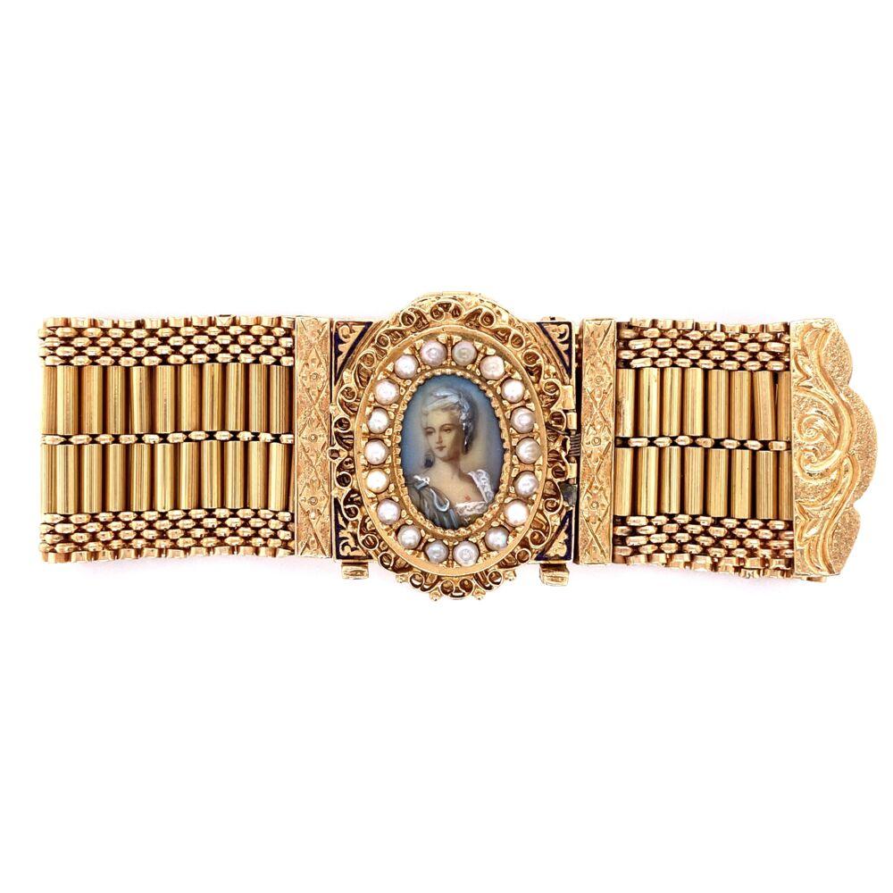 """14K YG Victorian Seed Pearl & Enamel Bracelet Interchangeable 90.3g, 7.25"""""""