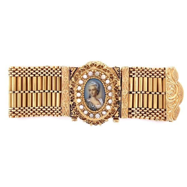 Closeup photo of 14K YG Victorian Seed Pearl & Enamel Bracelet Interchangeable 90.3g, 7.25""
