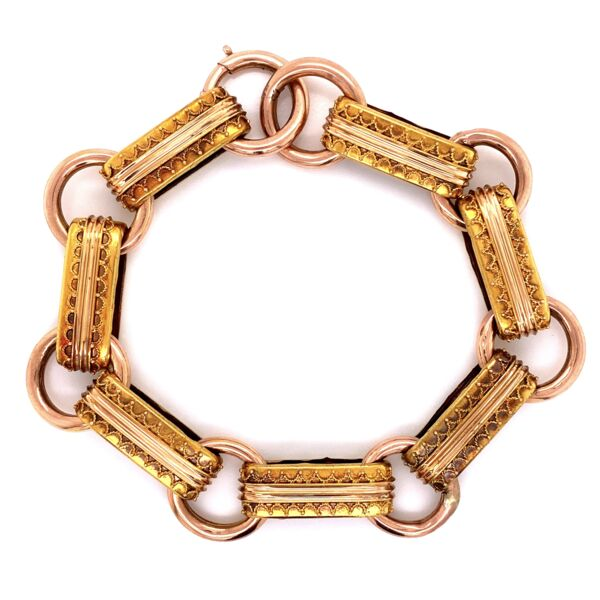 Closeup photo of 15K Rose Gold Victorian Open Link Bracelet 8.75'