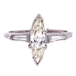 Closeup photo of Platinum .55ct Marquis Diamond Ring with .15tcw Baguette Diamonds, s6.5