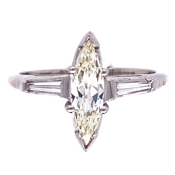 Closeup photo of Platinum .55ct Marquis Diamond Ring with .15tcw Baguette Diamonds, s6.5