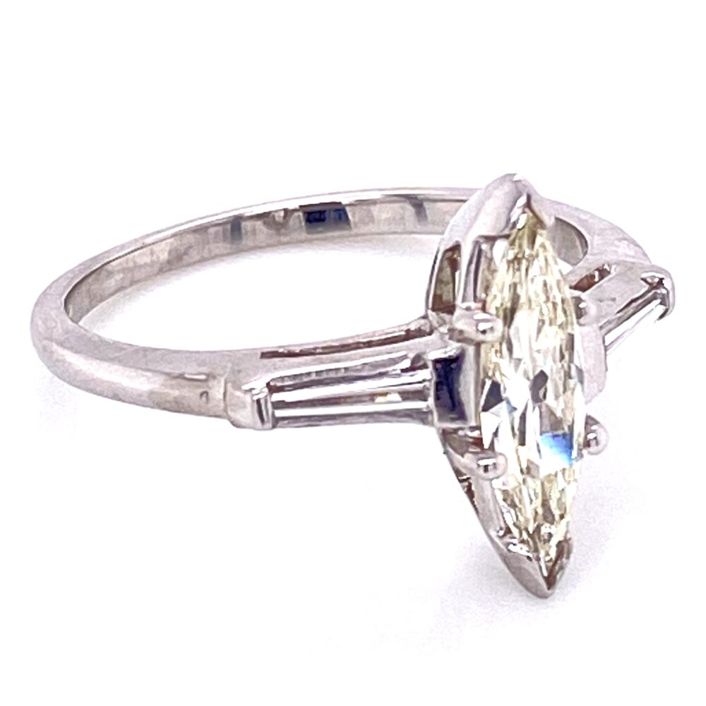 Image 2 for Platinum .55ct Marquis Diamond Ring with .15tcw Baguette Diamonds, s6.5