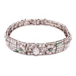 "Closeup photo of Platinum Art Deco Diamond Bracelet, 5.75tcw & .10tcw Emeralds 22.8g, 7"""