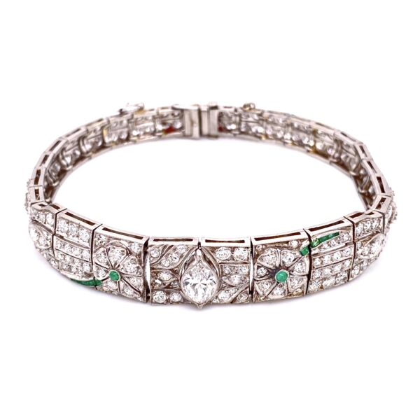 Closeup photo of Platinum Art Deco Diamond Bracelet, 5.75tcw & .10tcw Emeralds 22.8g, 7""