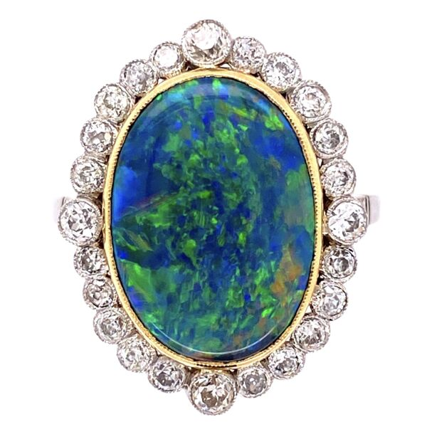 Closeup photo of Platinum 18K YG 4.74ct Black Opal & .95tcw Diamond Ring, s6.75