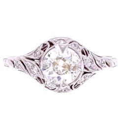 Closeup photo of Platinum Art Deco .75ct OEC & .20tcw Diamonds Ring, s8