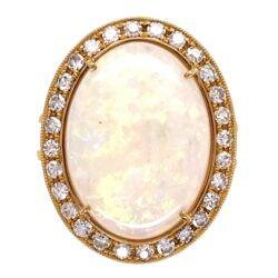 Closeup photo of 18K YG 8.60ct Australian White Opal & .71tcw Diamond Ring, s6.5