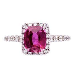Closeup photo of 18K WG 1.35 Cushion Ruby & .55tcw Diamond Ring, s7